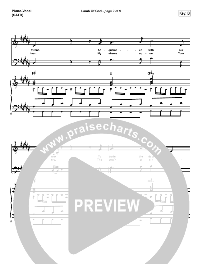 Lamb Of God Piano/Vocal (SATB) (Vertical Worship)