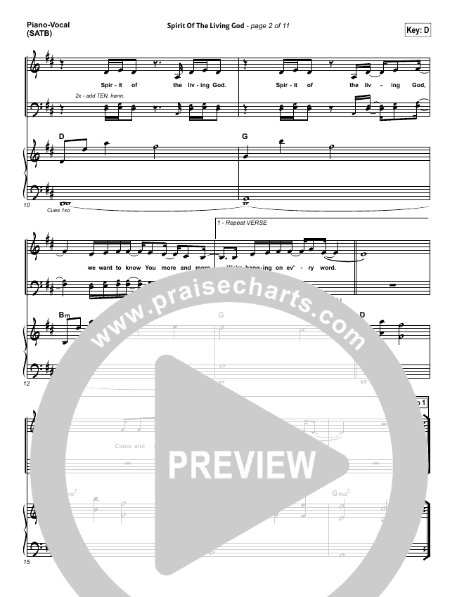 Spirit Of The Living God Piano/Vocal (SATB) (Vertical Worship)