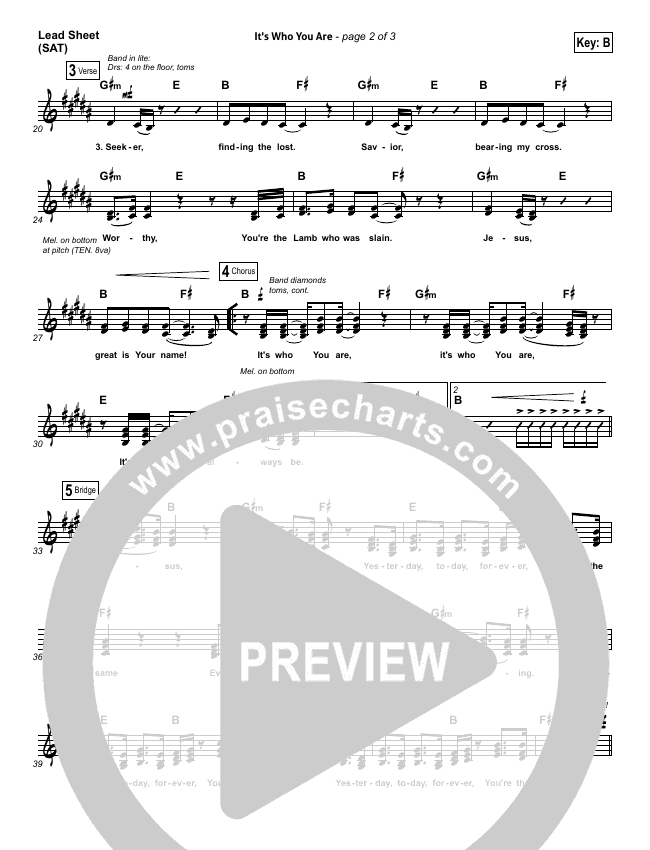 It's Who You Are Lead Sheet (SAT) (Vertical Worship)