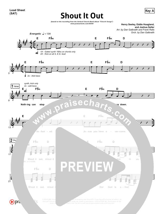 Shout It Out Lead Sheet & Piano/Vocal - Vertical Worship | PraiseCharts