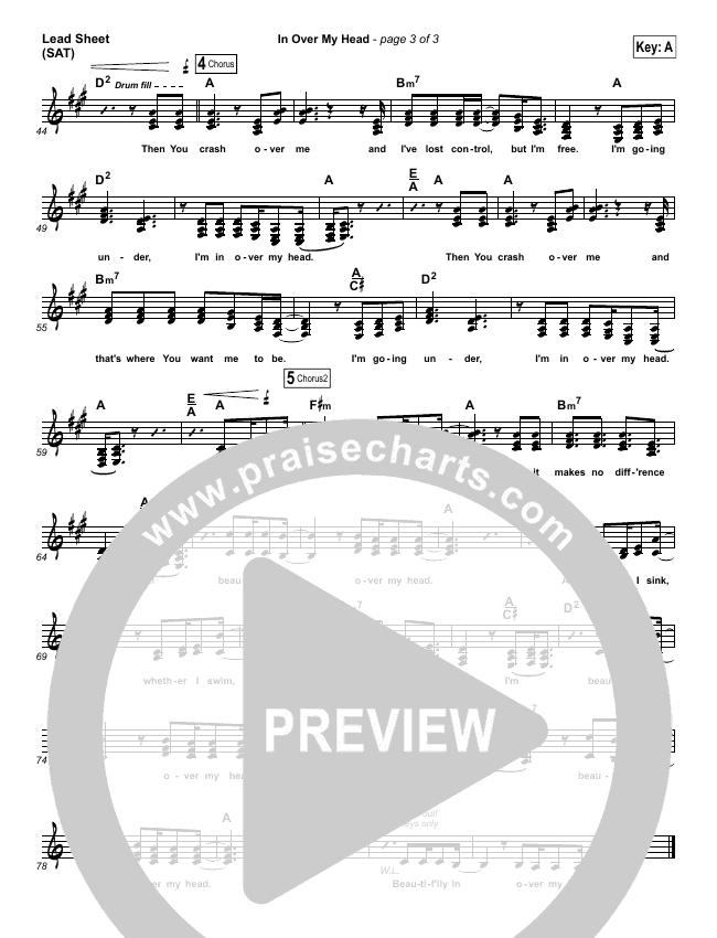 In Over My Head Lead Sheet (SAT) (Bethel Music)