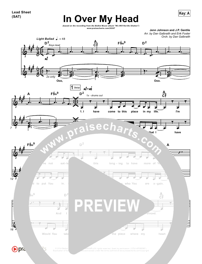 In Over My Head Lead Sheet & Piano/Vocal - Bethel Music   PraiseCharts