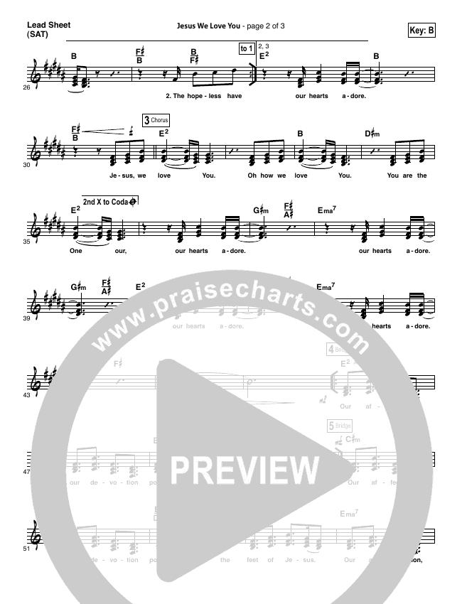 Jesus We Love You Lead Sheet (SAT) (Bethel Music)