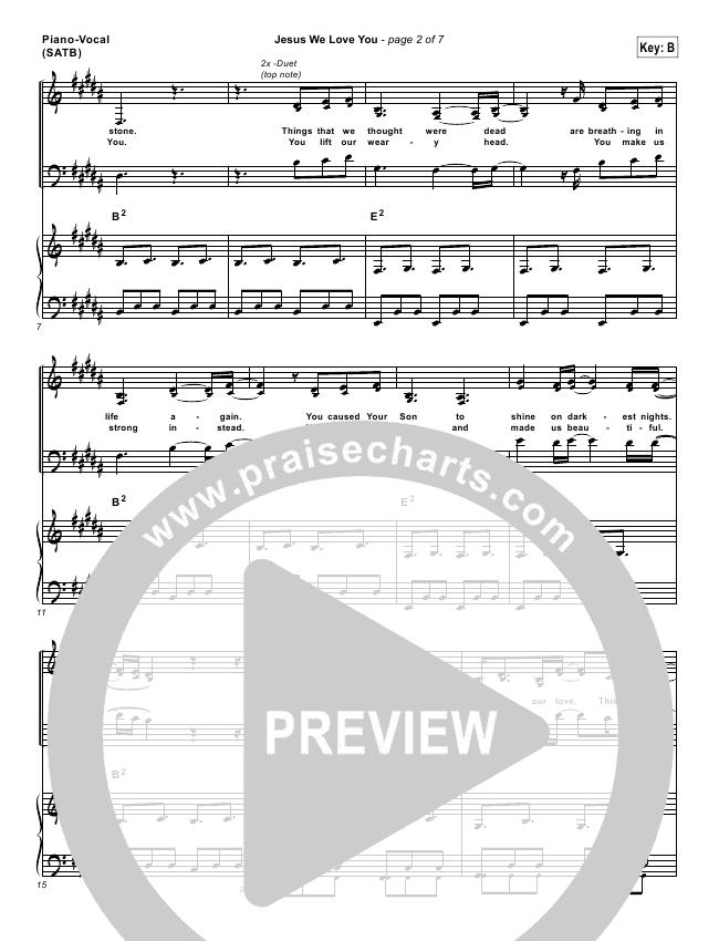 Jesus We Love You Lead Sheet Pianovocal Bethel Music Praisecharts