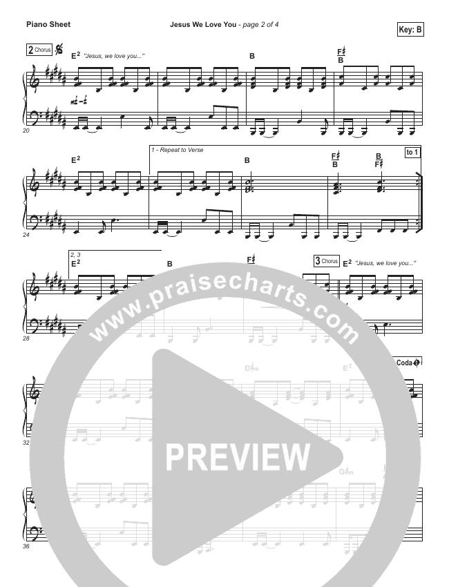 Jesus We Love You Piano Sheet (Bethel Music)