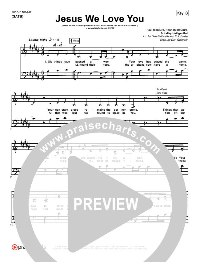 Jesus We Love You Choir Sheet (SATB) (Bethel Music)