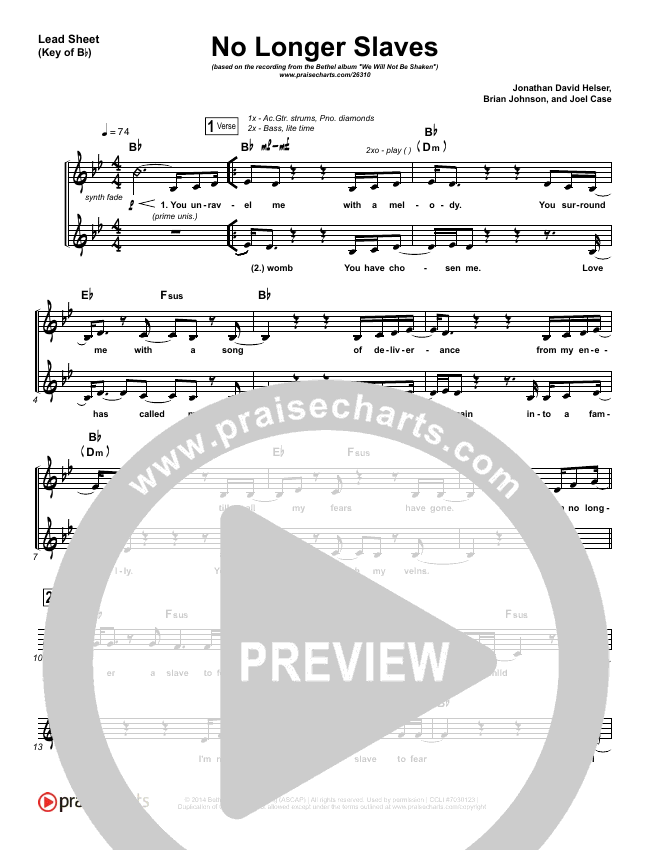 No Longer Slaves (Spontaneous)(Live) Lead Sheet (Melody) (Bethel Music)