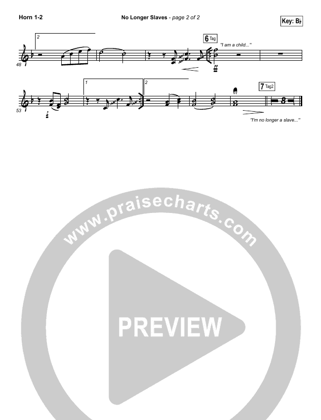 No Longer Slaves (Spontaneous)(Live) Brass Pack (Bethel Music)