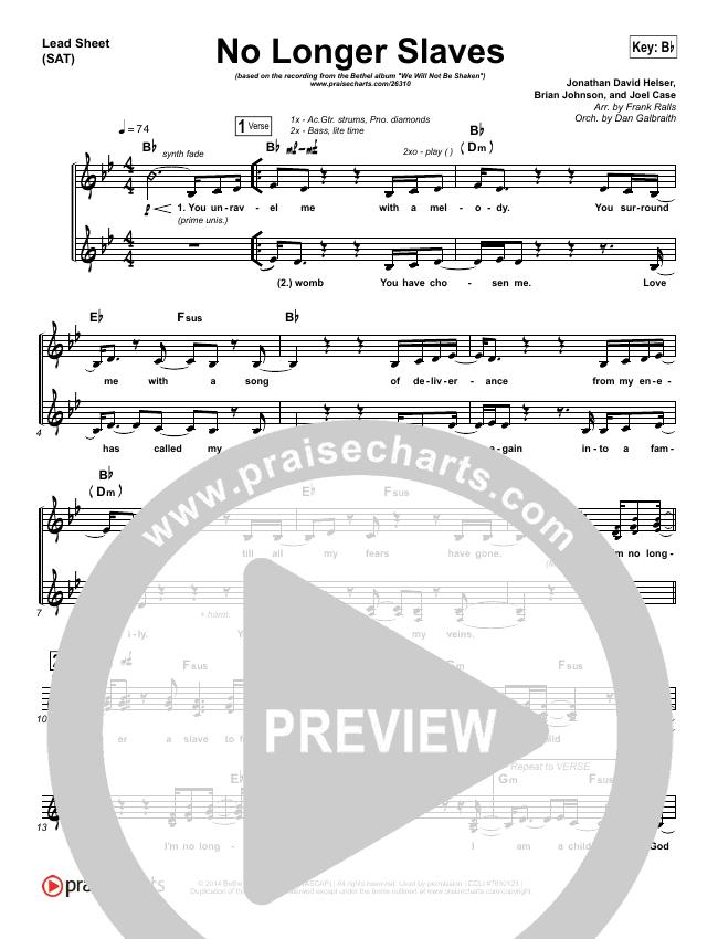 No Longer Slaves (Spontaneous)(Live) Lead Sheet (SAT) (Bethel Music)
