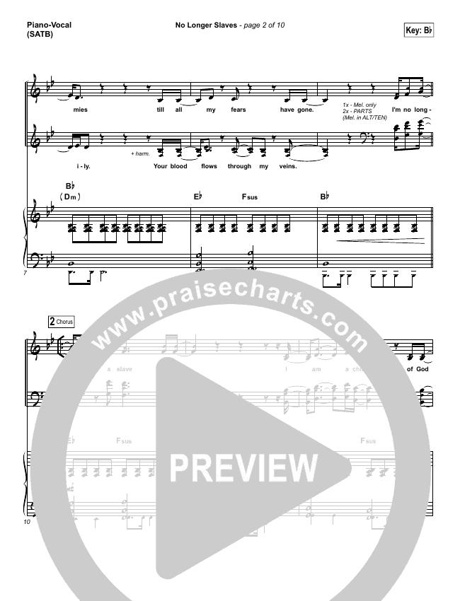 No Longer Slaves (Spontaneous)(Live) Piano/Vocal (SATB) (Bethel Music)