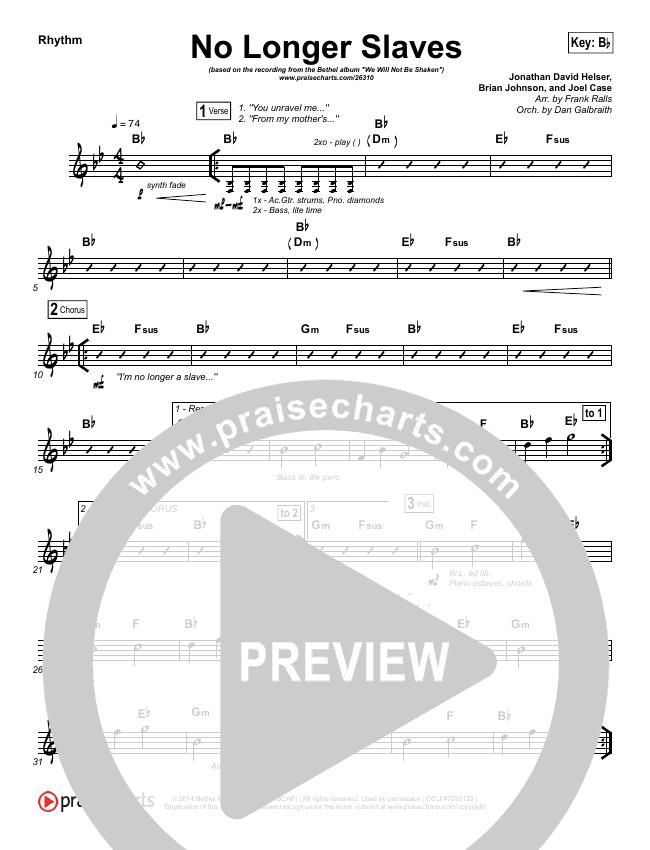 No Longer Slaves (Spontaneous)(Live) Rhythm Chart (Bethel Music)