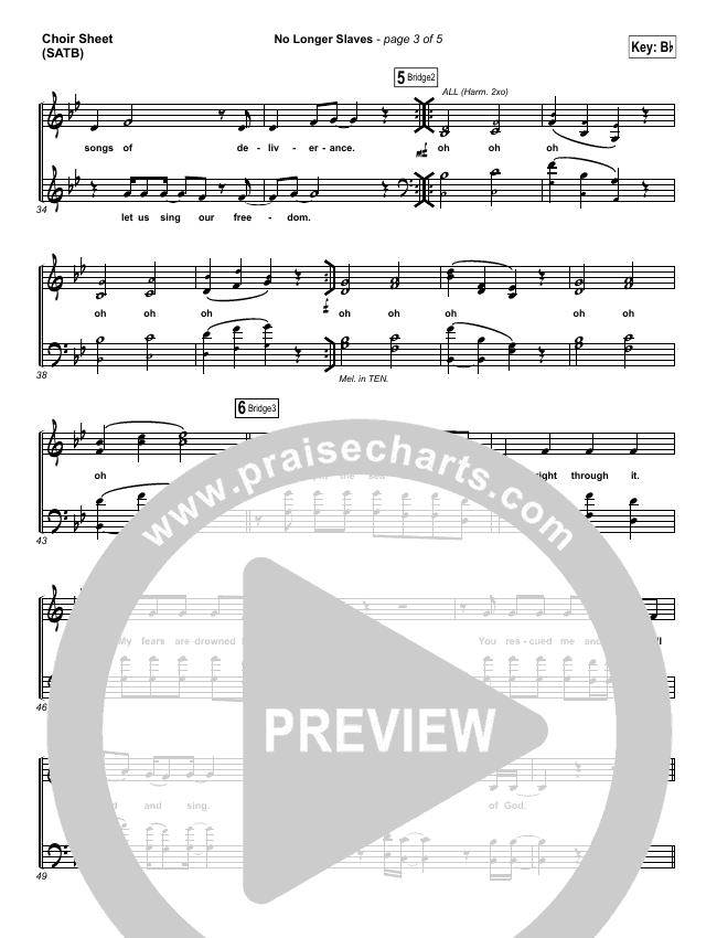 No Longer Slaves (Spontaneous)(Live) Choir Sheet (SATB) (Bethel Music)