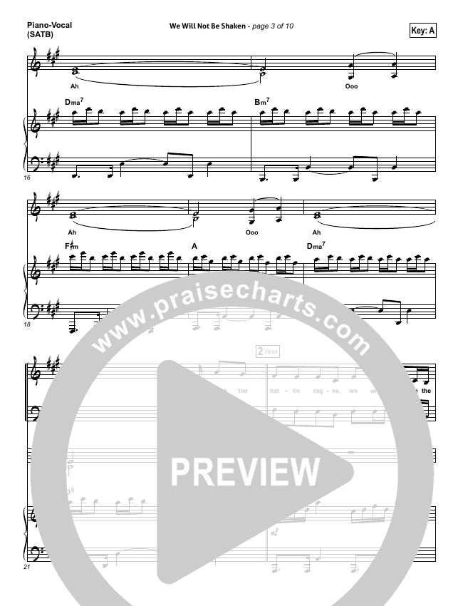 We Will Not Be Shaken Piano/Vocal (SATB) (Bethel Music)