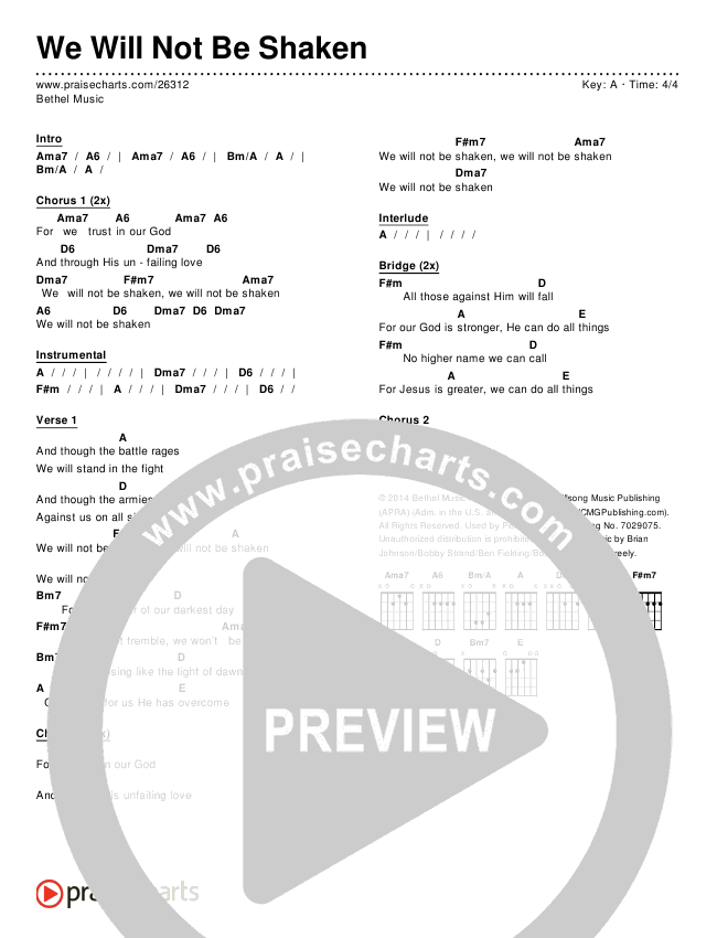 We Will Not Be Shaken Chords & Lyrics (Bethel Music)