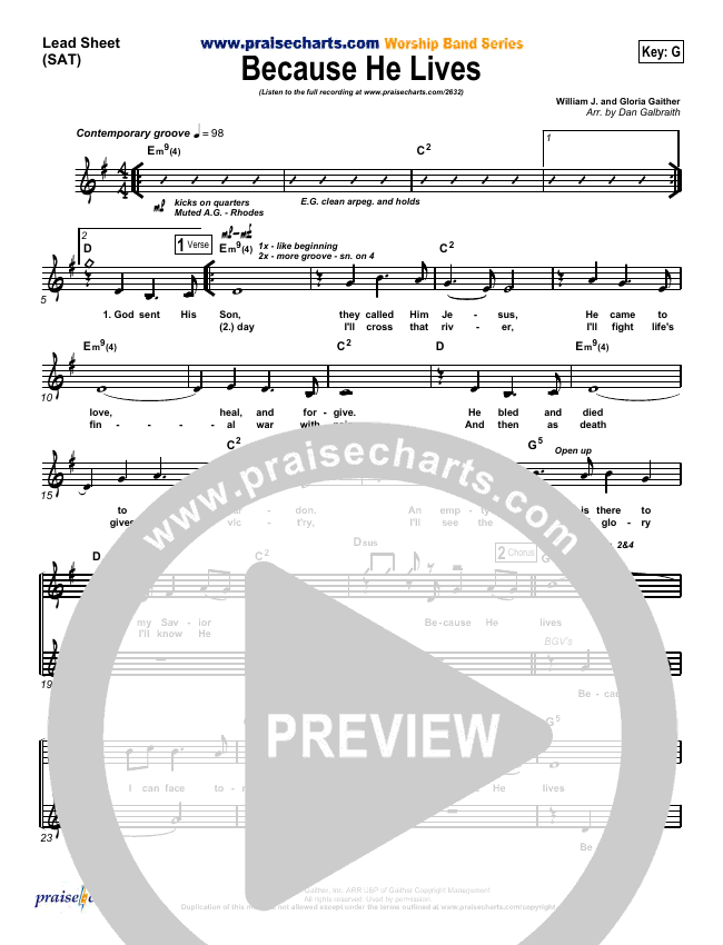 Because He Lives Lead Sheet (SAT) (PraiseCharts Band)