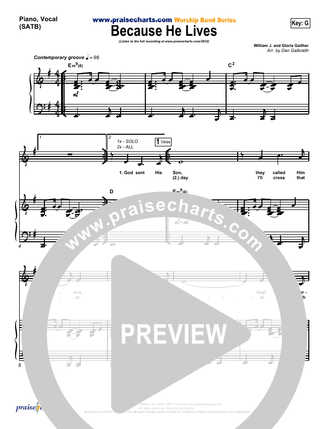 Because He Lives Piano/Vocal (SATB) (PraiseCharts Band)