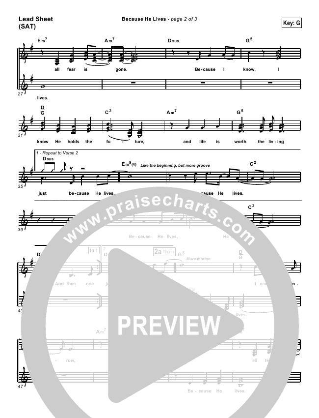 Because He Lives Lead & Piano/Vocal (PraiseCharts Band / Arr. Dan Galbraith)