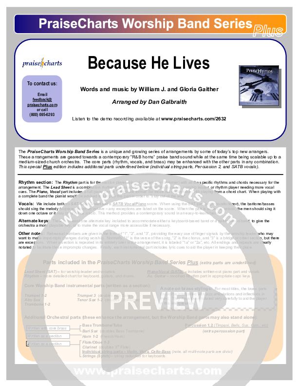 Because He Lives Orchestration (PraiseCharts Band / Arr. Dan Galbraith)