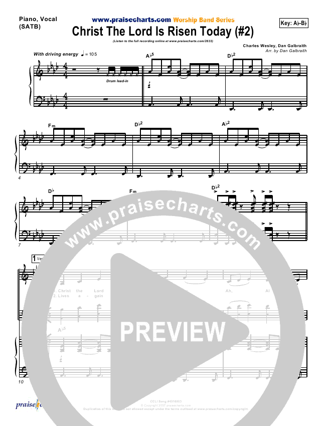 Christ The Lord Is Risen Today Lead & Piano/Vocal (PraiseCharts Band / Arr. Dan Galbraith)