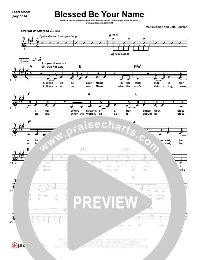 Blessed Be Your Name Lead Sheet (Melody) (Matt Redman)