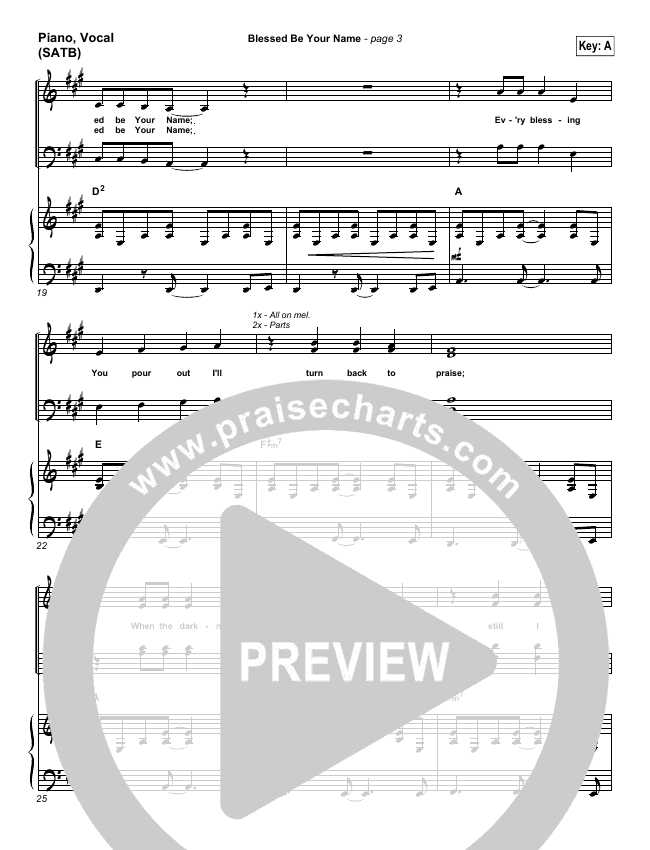 Blessed Be Your Name Piano/Vocal (SATB) (Matt Redman)