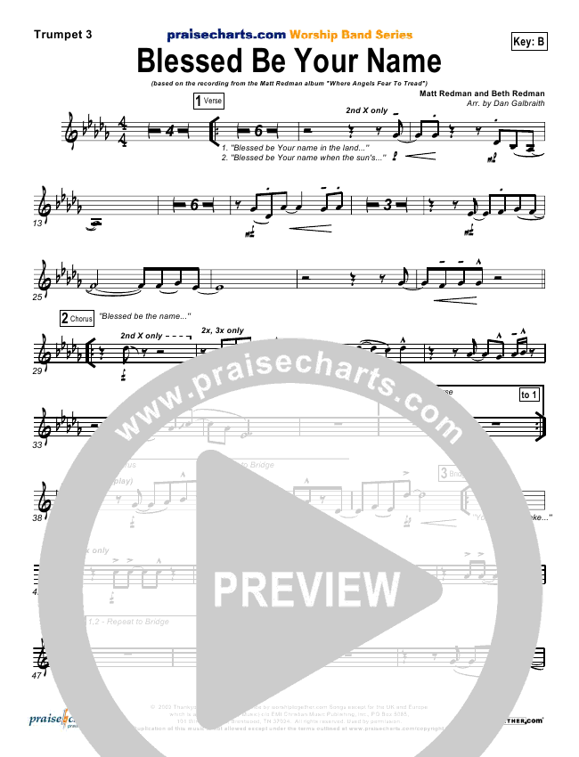 Blessed Be Your Name Orchestration Matt Redman Praisecharts