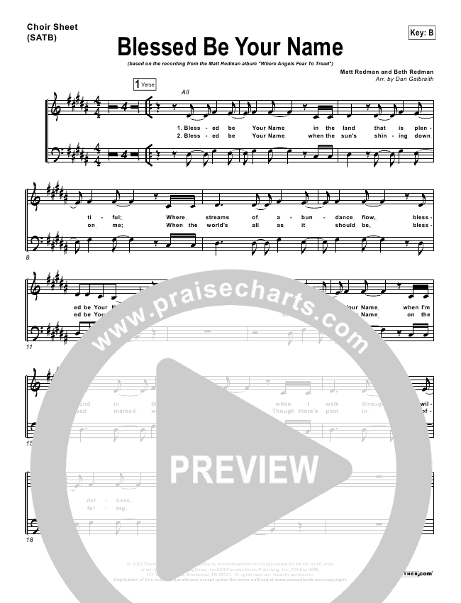 Blessed Be Your Name Choir Sheet (SATB) - Matt Redman | PraiseCharts
