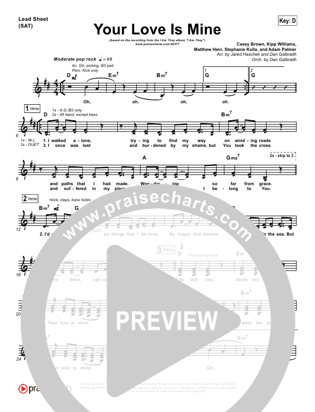 Your Love Is Mine Lead Sheet Piano Vocal I Am They Praisecharts
