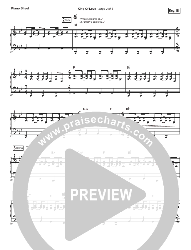 King Of Love Piano Sheet (I Am They)