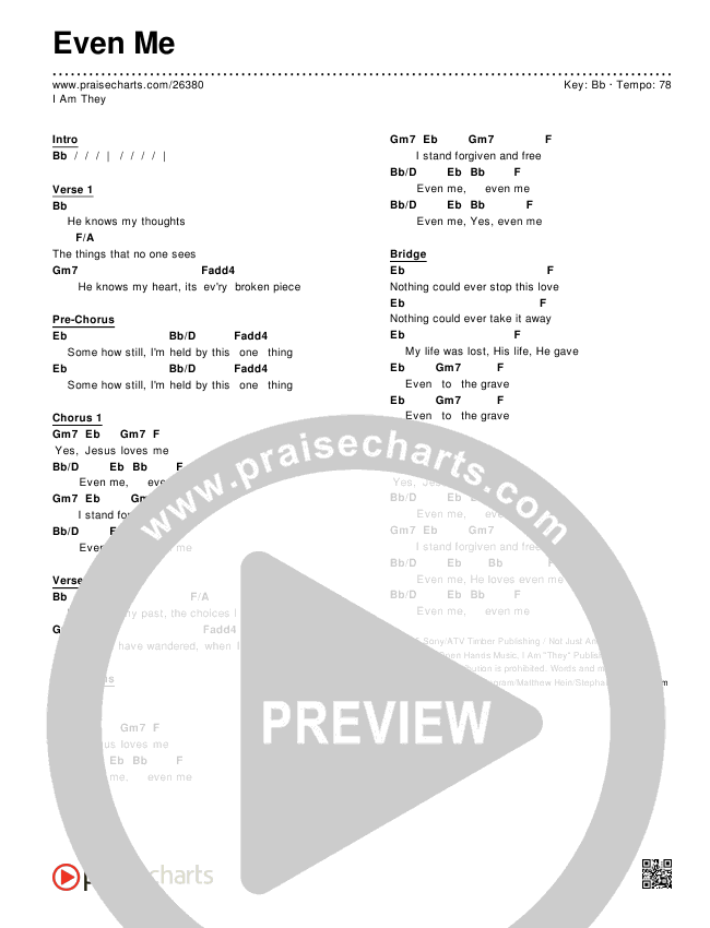 Even Me Chords & Lyrics (I Am They)