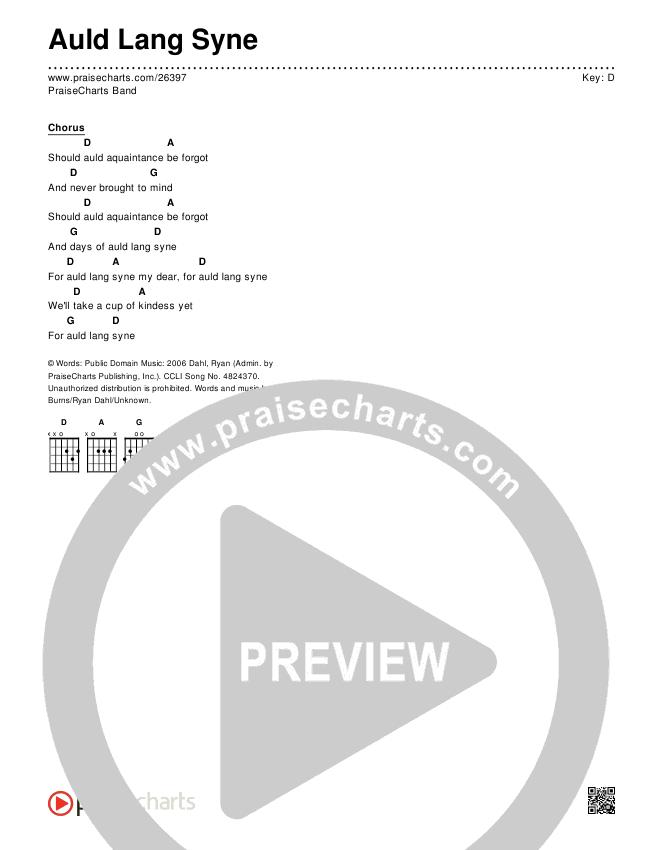 Auld Lang Syne Chords - PraiseCharts Band   PraiseCharts