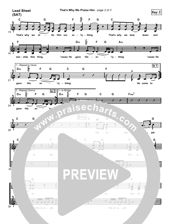 That's Why We Praise Him Lead Sheet (SAT) (Tommy Walker)