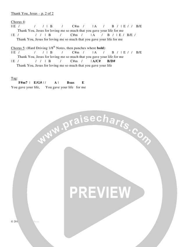 Thank You Jesus Chords & Lyrics (Sean Swanson)