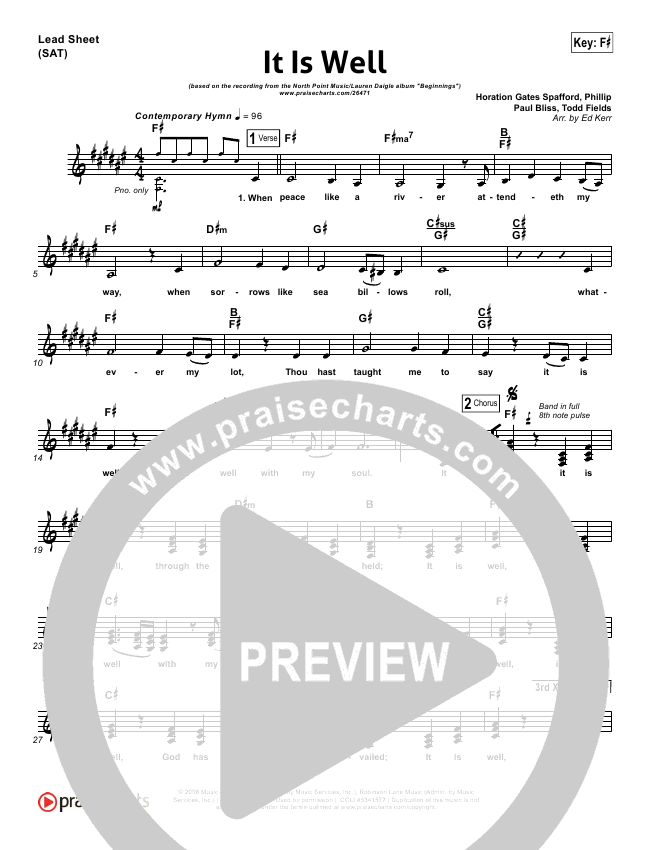 It Is Well Lead Sheet (Lauren Daigle / North Point Worship)