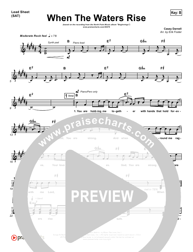 When The Waters Rise Lead Sheet (Chinua Hawk / North Point Worship)