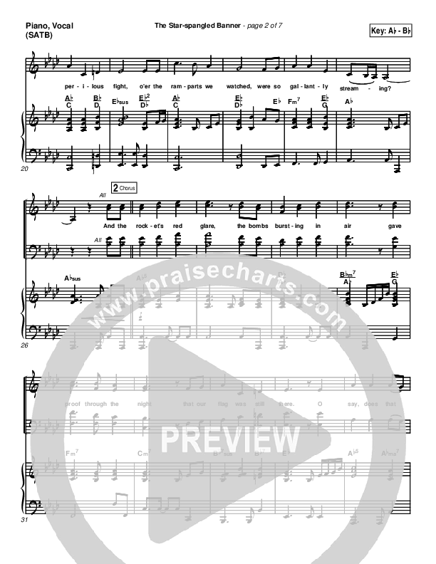 The Star-Spangled Banner Piano/Vocal (SATB) (PraiseCharts Band / Arr. Dan Galbraith)