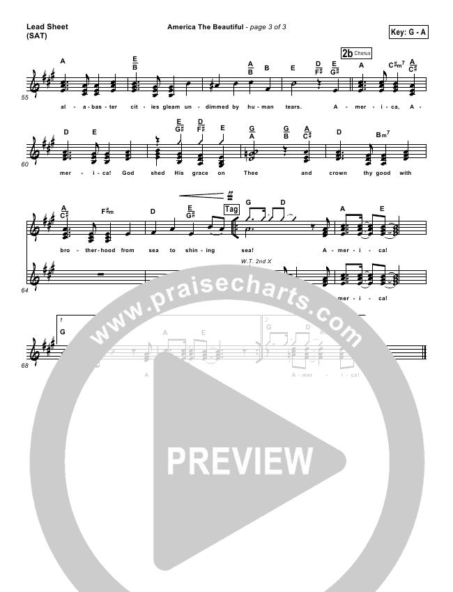 America The Beautiful Lead & Piano/Vocal (PraiseCharts Band)
