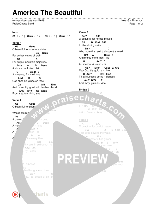 America The Beautiful Chords & Lyrics (PraiseCharts Band)