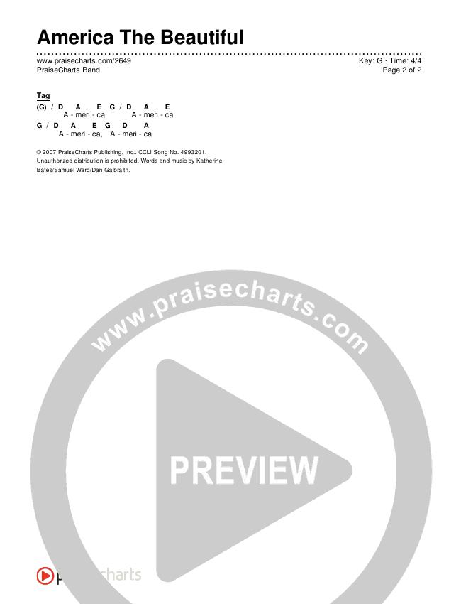 America The Beautiful Chords & Lyrics (PraiseCharts Band / Arr. Dan Galbraith)