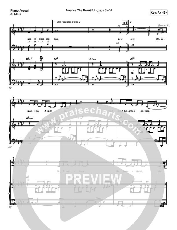 America The Beautiful Piano/Vocal (SATB) (PraiseCharts Band / Arr. Dan Galbraith)