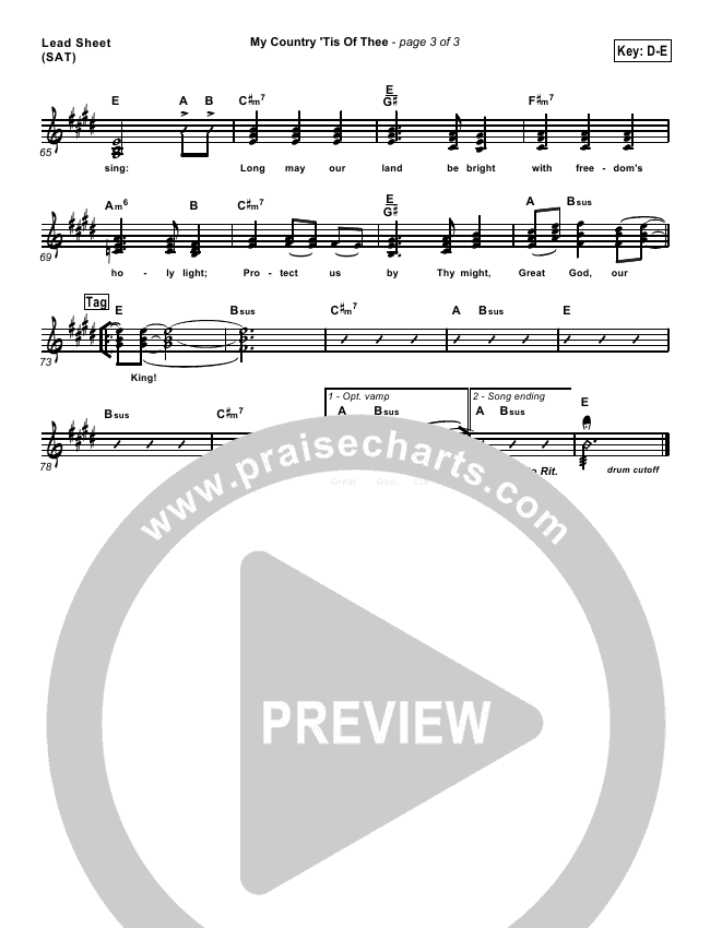 My Country Tis Of Thee Orchestration & Finale (PraiseCharts Band)