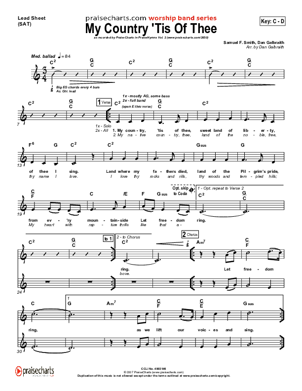 My Country Tis Of Thee Orchestration (PraiseCharts Band / Arr. Dan Galbraith)