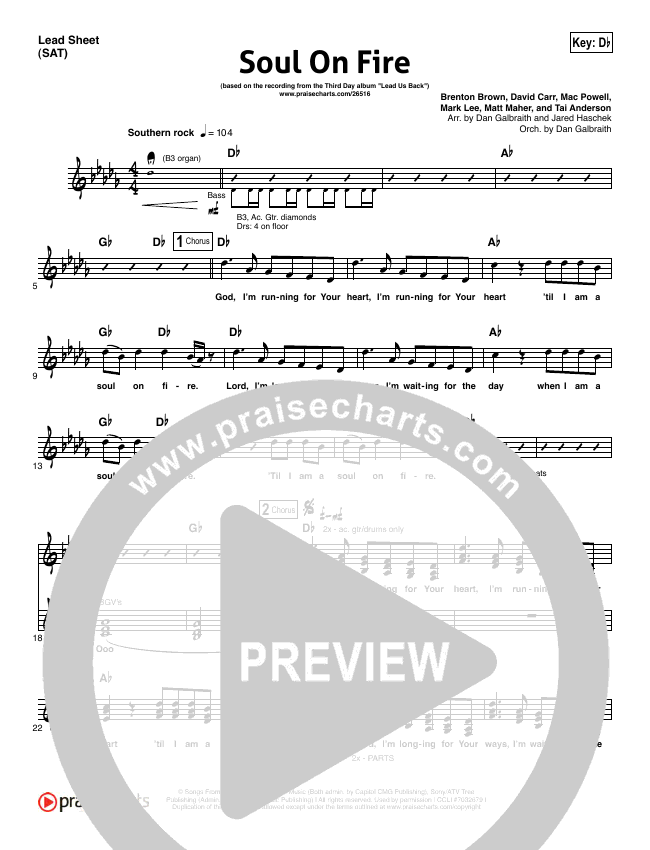 Soul On Fire Lead Sheet (SAT) (Third Day)