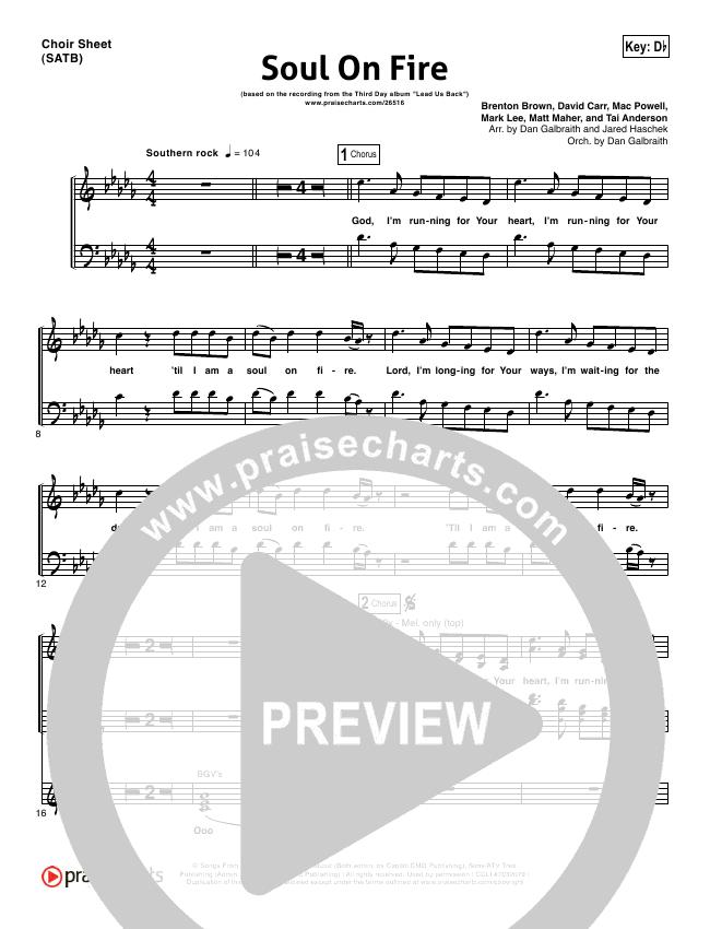 Soul On Fire Choir Sheet (SATB) (Third Day)