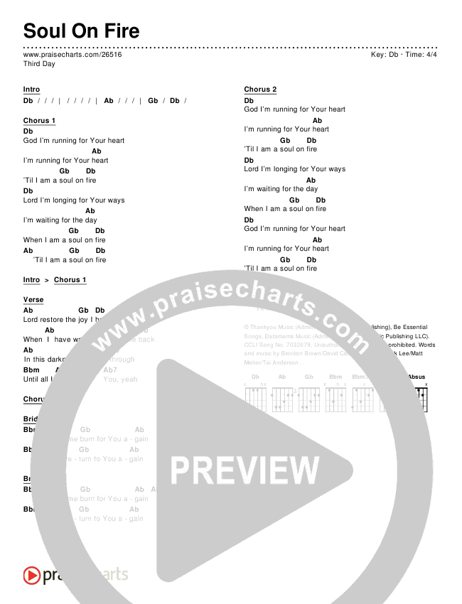 Soul On Fire Chords - Third Day | PraiseCharts