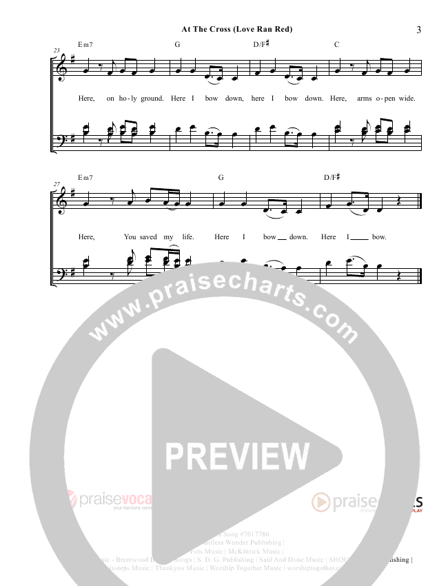 At The Cross (Love Ran Red) Lead Sheet (PraiseVocals)