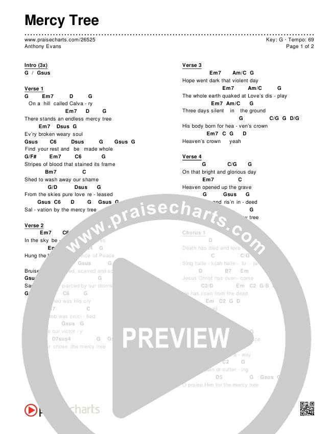 Mercy Tree Chords - Anthony Evans | PraiseCharts