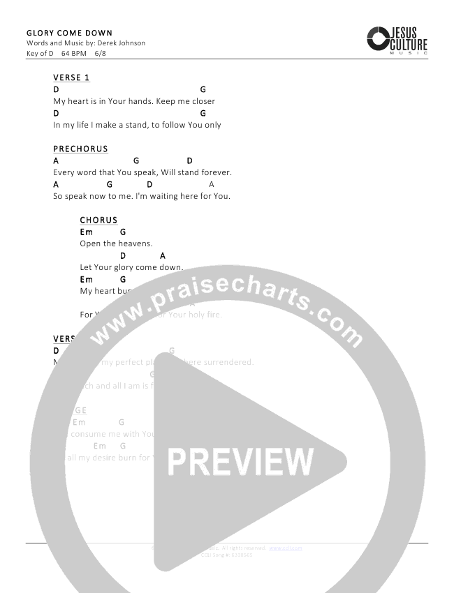 Glory Come Down Chord Chart (Derek Johnson)
