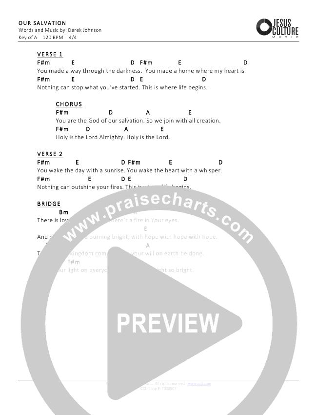 Our Salvation Chord Chart (Derek Johnson)