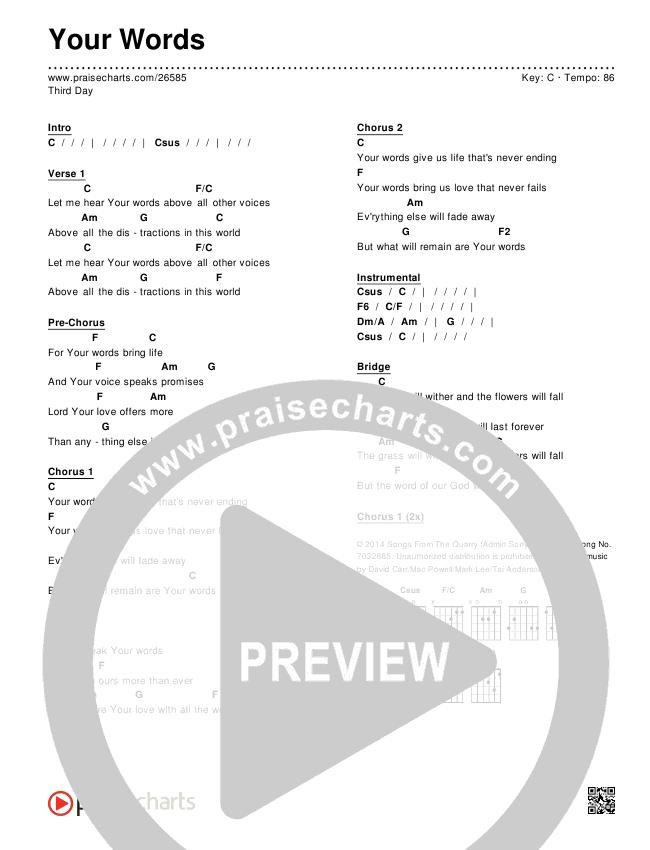 Your Words Chords & Lyrics (Third Day)